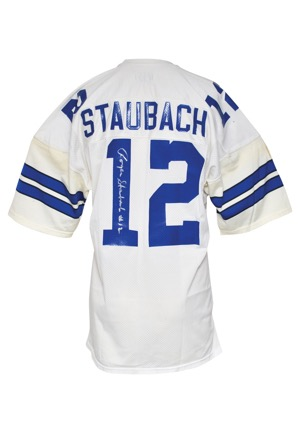 Late 1970s Roger Staubach Dallas Cowboys Game-Used & Autographed Home Jersey (JSA • Repairs)