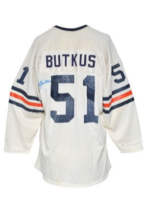 Early 1970s Dick Butkus Chicago Bears Game-Used & Autographed Road Jersey (JSA • Great Use)