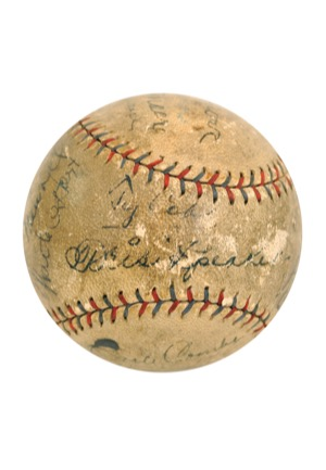 1928 New York Yankees & Philadelphia Athletics Dual Team-Signed Official American League Baseball with Ruth, Gehrig, Foxx & Cobb (Full JSA • Halper/Sothebys Collection)