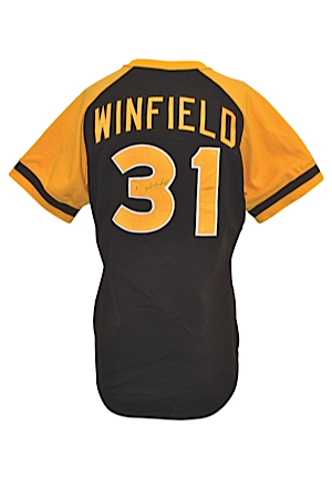 1979 San Diego Padres Dave Winfield Game-Used & Twice Autographed Road Jersey (JSA • NL RBI Leader • Outstanding Example)