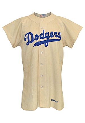 1949 Gil Hodges Brooklyn Dodgers Game-Used Home Flannel Jersey (World Series Season • Very Rare • Fantastic All-Original Condition)
