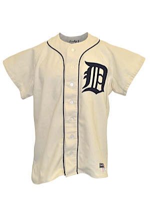 1954 Johnny Pesky Detroit Tigers Game-Used Home Flannel Uniform With Stirrups (4)(Fantastic All-Original Condition • Pesky LOA)