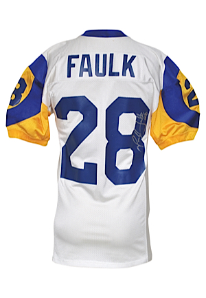 1999 Marshall Faulk St. Louis Rams Game-Used & Autographed Road Jersey (Championship Season • Offensive PoY • PSA/DNA • Repairs)
