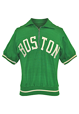 "Mid 1960s Tom ""Satch"" Sanders Boston Celtics Worn Durene Shooting Shirt (Rare • Repairs)"