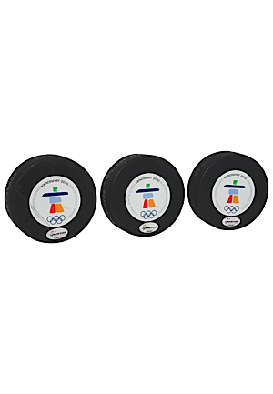 2/21/2010 Team USA vs. Team Canada Olympics Game-Used Pucks (3)(1st, 2nd & 3rd Period • VANOC COAs)