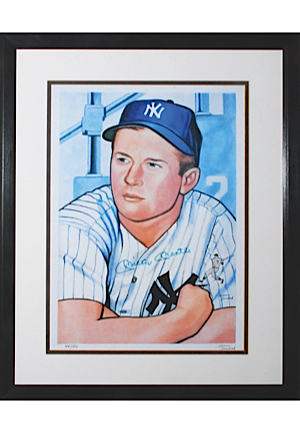 Framed Mickey Mantle Autographed Limited Edition Gerry Dvorak Lithograph (JSA • Dvorak LOA)