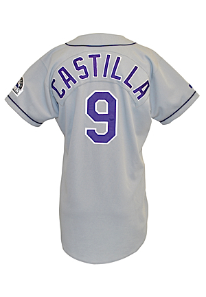 1995 Vinny Castilla Colorado Rockies Game-Used & Autographed Road Jersey (JSA)