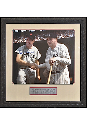 Framed Babe Ruth & Ted Williams Photo Signed by Williams (JSA)