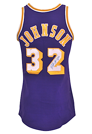 "Mid 1980s Ervin ""Magic"" Johnson Los Angeles Lakers Game-Used & Autographed Road Jersey (Full JSA LOA)"