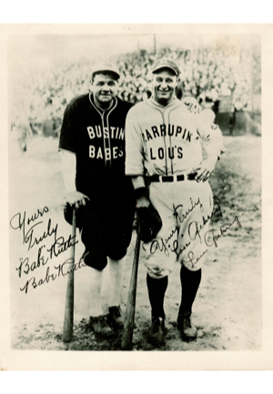 "Spectacular Babe Ruth & Lou Gehrig Bustin Babes & Larrupin Lous Dual-Signed Barnstorming Photograph (Full JSA LOA • Stamped ""Christy Walsh Management"")"