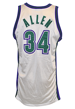 2001-02 Ray Allen Milwaukee Bucks Game-Used Home Jersey