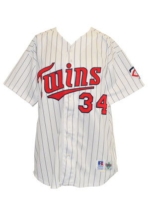 1993 Kirby Puckett Minnesota Twins Game-Used & Twice Autographed Pinstripe Home Jersey (JSA)