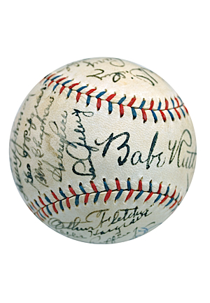 Exceptional 1930 New York Yankees Team Autographed Official American League Baseball with Ruth & Gehrig (Full JSA LOA • Originally Sourced From Jacob Ruppert • 25 Sigs & 7 HoFers)