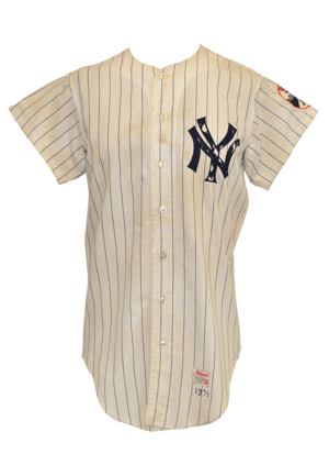 1971 Jerry Kenney New York Yankees Game-Used Home Pinstripe Flannel Jersey (Extremely Rare 50th Anniversary Yankee Stadium Patch)