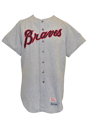 1969 Atlanta Braves No. 55 Team-Issued Road Flannel Jersey