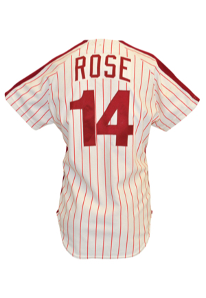 1979 Pete Rose Philadelphia Phillies Game-Used & Autographed Pinstripe Home Uniform (2)(JSA • Photo-Matched • Roses First Phillies Shirt Ever Issued)