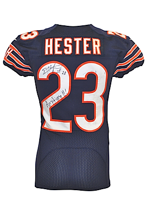 10/1/2012 & 10/22/2012 Devin Hester Chicago Bears Game-Used & Autographed Home Jersey (JSA • PSA/DNA • Photo-Matched • Unwashed)