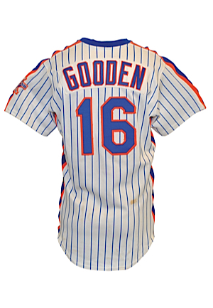 1986 Dwight Gooden New York Mets Game-Used & Autographed Home Pinstripe Jersey (JSA • Championship Season)
