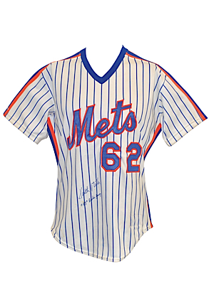 1987 Keith Miller New York Mets Spring Training-Worn & Autographed Pinstripe Home Jersey (JSA)