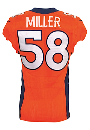 1/17/2016 Von Miller Denver Broncos NFL Playoffs Game-Used Orange Crush Home Jersey (Broncos LOA • Panini COA • Championship & Super Bowl MVP Season • Unwashed • Photo-Matched)
