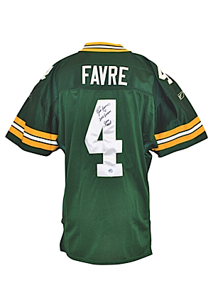 2002 Brett Favre Green Bay Packers Game-Used & Autographed Home Jersey (JSA & PSA/DNA LOAs • Favre LOA & Photo Of Him Signing)
