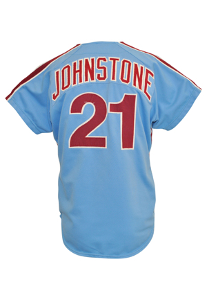 Jay Johnstone Game-Used Jerseys — 1977 Philadelphia Phillies Powder Blue Road & 1980 Los Angeles Dodgers Home (2)