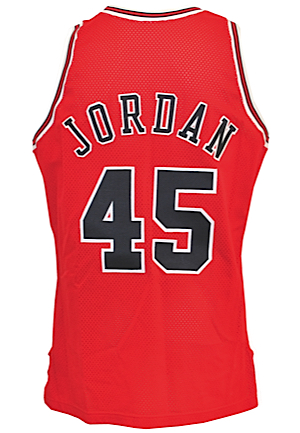 "1994-95 Michael Jordan Chicago Bulls Game-Used & Autographed Road Jersey (Rare ""Im Back"" No. 45)"