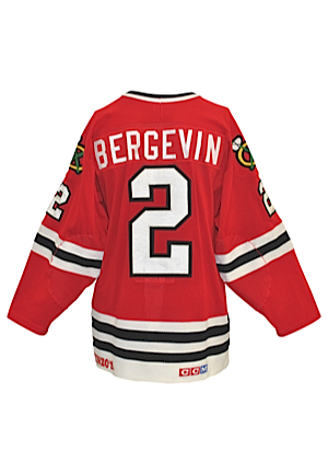 Mid 1980s Marc Bergevin Rookie Era Chicago Blackhawks Game-Used Road Jersey
