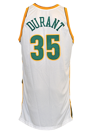2007-08 Kevin Durant Rookie Seattle SuperSonics Game-Used Home Jersey (RoY Season)