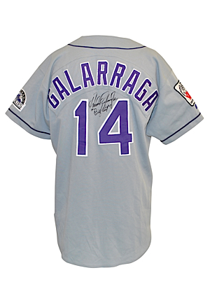 1996 Andres Galarraga Colorado Rockies Japan Series Game-Used & Autographed Road Jersey (JSA • Sourced From Julio Franco)