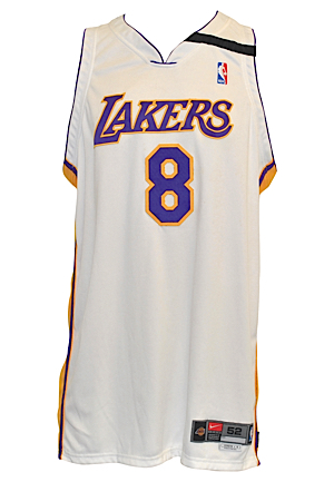 2002-03 Kobe Bryant Los Angeles Lakers Sunday White Alternate Game-Used & Autographed Uniform (2)(DC Sports LOA • Wilt Chamberlain Armband • Scoring Champion)