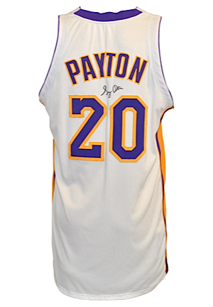 2003-04 Gary Payton Los Angeles Lakers Sunday White Alternate Game-Used & Autographed Home Jersey (JSA • DC Sports LOA)