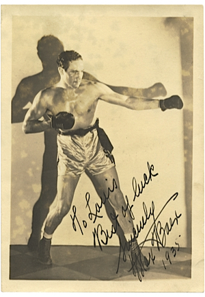 "5"" x 7"" Max Baer Autograph Sepia Fighting Stance Portrait Photography (Full JSA LOA)"