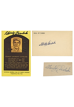 Lot of Stanley Coveleski, Bob Lemon & Rick Ferrell Autographed HoF Plaque Postcards & Cuts (91)(JSA)