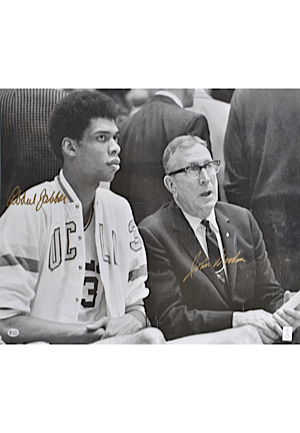 Lot of John Wooden, Kareem-Abdul Jabbar & Bill Walton Signed Photos (8)(JSA)