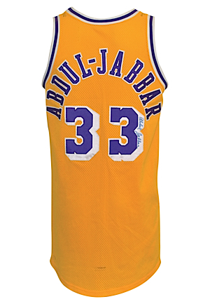 Mid 1980s Kareem Abdul-Jabbar Los Angeles Lakers Pro Cut Twice Autographed Home Jersey (JSA)