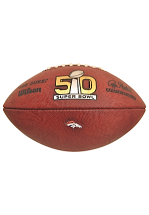 2/7/2016 Denver Broncos Super Bowl 50 Game-Used Football (Ball No. 34 • Sourced From NFL Equipment Manager)