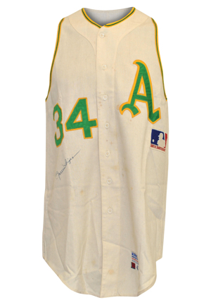 1969 Rollie Fingers Rookie Oakland Athletics Game-Used & Autographed Home Vest (JSA • One-Year Style • Graded A9)