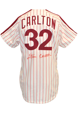 1977 Steve Carlton Philadelphia Phillies Game-Used & Autographed Pinstripe Home Jersey (JSA • Photo-Matched • NL Cy Young Award & Wins Leader)