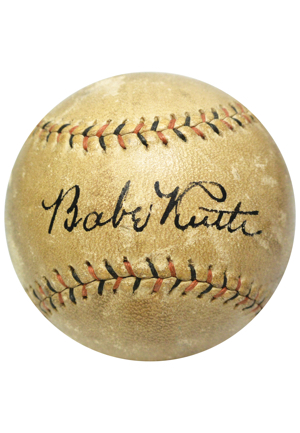 High-Grade 1928 Babe Ruth Single-Signed Baseball (Full JSA LOA • Letter of Provenance • Obtained In Person At Mud Hens vs. Yankees Exhibition Game)