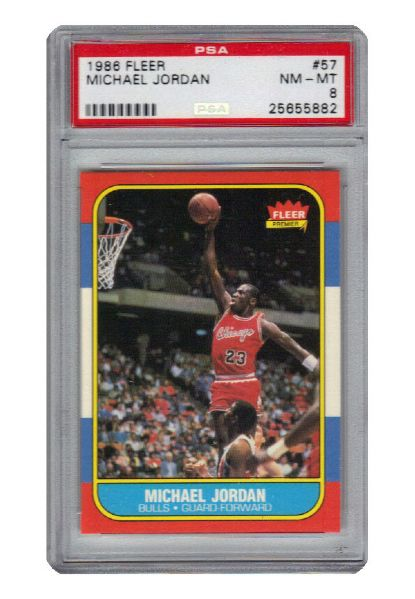 1986 Fleer #57 Michael Jordan Chicago Bulls RC Rookie Card & #8 MJ Sticker (2)(Hobby Fresh • Consignor Pulled • PSA/DNA Encapsulated)