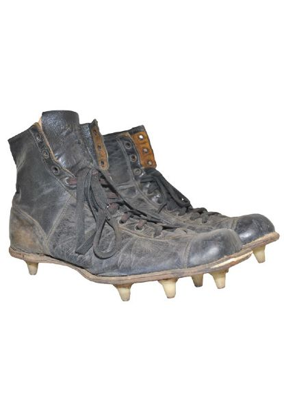 "Early 1960s Lou Groza ""The Toe"" Cleveland Browns Game-Used Cleats With Kicking Tee (2)(Groza Family LOA • Custom Toe Box)"