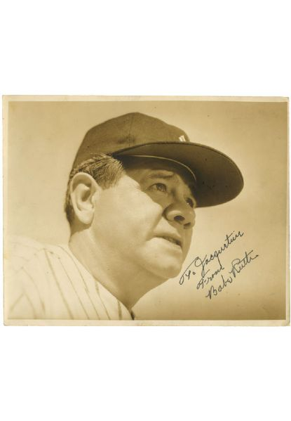 "Beautiful Babe Ruth Signed 8"" x 10"" Type 1 Sepia Photograph (Full JSA LOA • Family Provenance)"