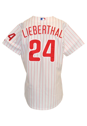 1990s Mike Lieberthal Philadelphia Phillies Game-Used Items — Player-Worn & Autographed Batting Practice Jersey, Home Pinstripe Jersey & Bat (3)(JSA • PSA/DNA Pre-Cert)