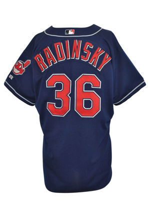 2001-02 Scott Radinsky Cleveland Indians Game-Used & Autographed Road Jersey (JSA)