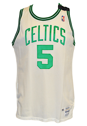 1989-90 Boston Celtics Game-Used Jerseys — John Bagley Home & Charles Smith Road (2)(Follow Through Armband)