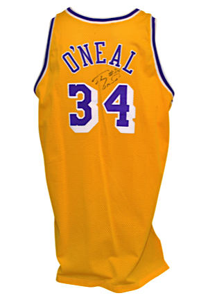 1996-97 Shaquille ONeal Los Angeles Lakers Game-Used & Autographed Home Jersey (Full JSA LOA)