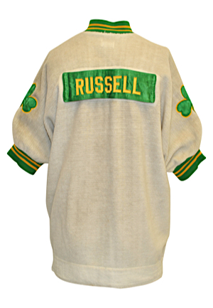 Early 1960s Bill Russell Boston Celtics Player-Worn Home Fleece Warm-Up Jacket (Hobby Fresh • Single Owner Provenance Sourced Directly From The Boston Garden)