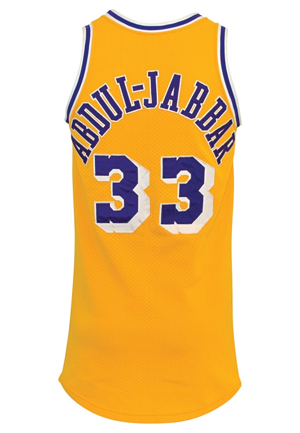 686477545d2 ... NBA Adidas Jersey - Gold Lot Detail - 1984-85 Kareem Abdul-Jabbar Los  Angeles Lakers ...
