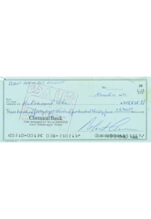 "1971 Paycheck Issued To Muhammad Ali From Bob Arum As ""The Fight Of The Century"" Purse Compensation (Full JSA LOA • Endorsed On Back)"